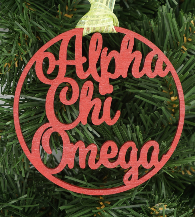 Alpha Chi Omega Wooden Ornament 4 inch