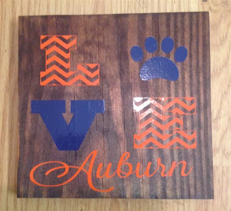 Love Auburn wooden sign