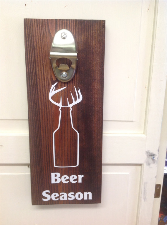 Beer Season Bottle Opener Wooden Sign