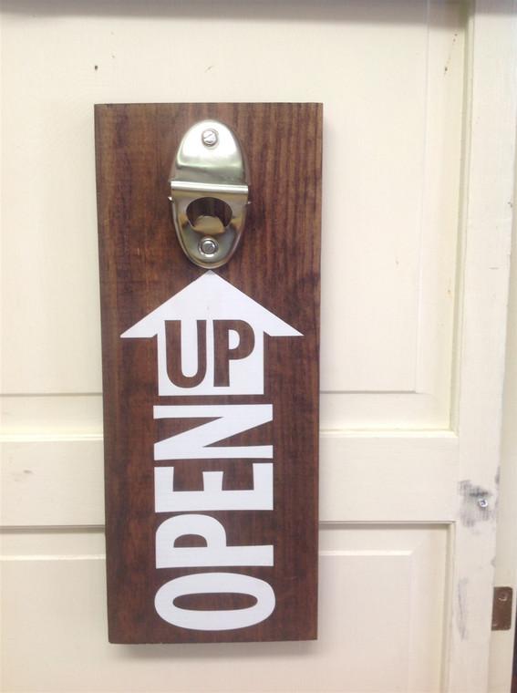 Open Up bottle opener wooden sign