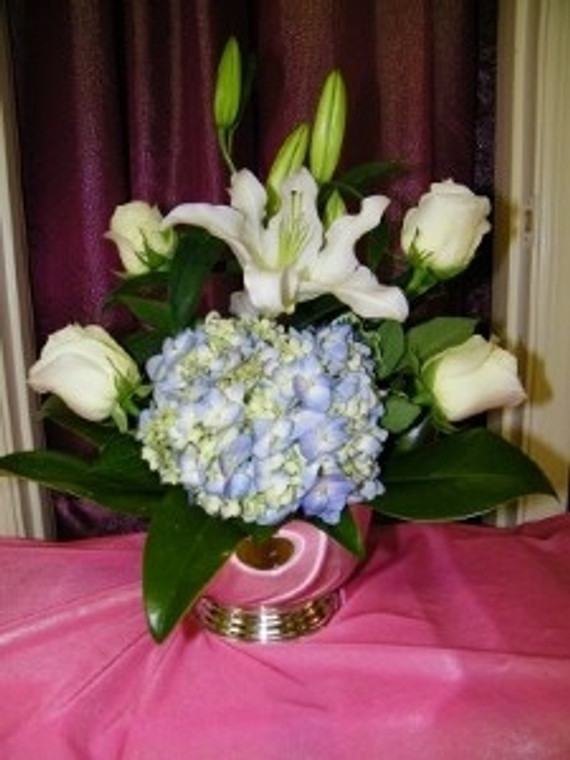 Lily and Hydrangea Low Arrangement
