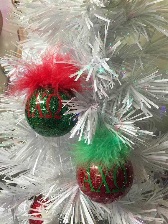 Alpha Chi Omega glittered glass ornament