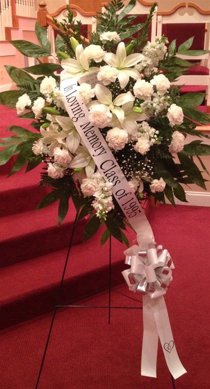 Sympathy spray all white with remembrance ribbon