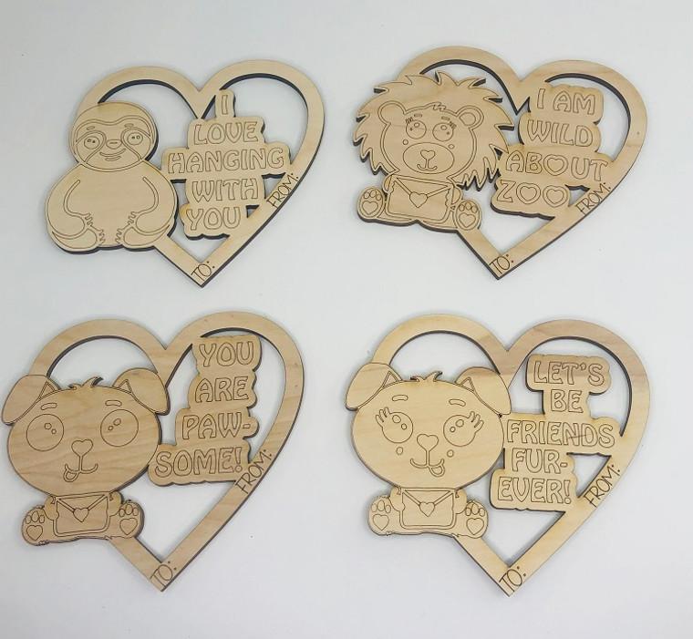 DIY Valentine Keepsake Wooden Animal Themed Cards