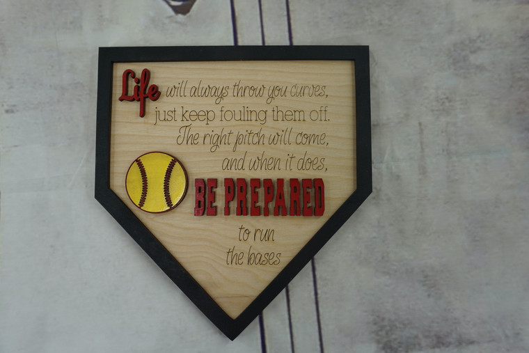 """Wooden Softball/Baseball """"Life Will Always Throw You Curves..."""" Sign"""