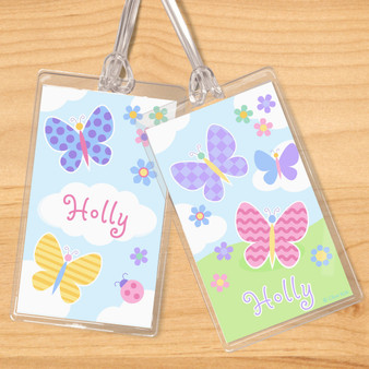 Butterfly Garden Kids Personalized Name Tag Set of 2