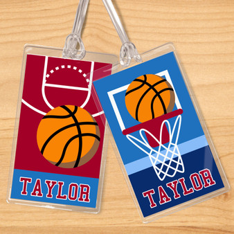 Basketball Boys Personalized Kids Name Tag Set of 2