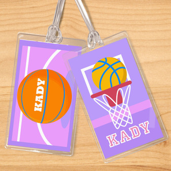 Basketball Girls Personalized Kids Name Tag Set of 2