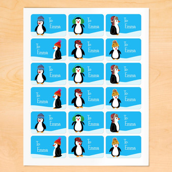 Art Appeel Personalized Penguin Gift Tags Set of 18