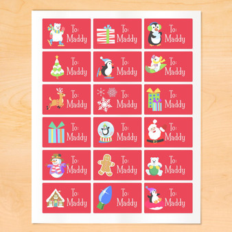Art Appeel Personalized Red Classic Christmas Gift Tags Set of 18