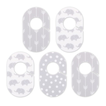 The Peanut Shell 5 Piece Closet Organizers for Baby in Grey and White