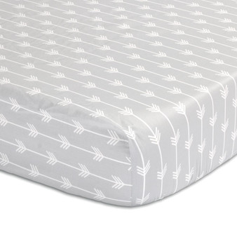 Grey Arrows Fitted Cotton Sateen Crib Sheet