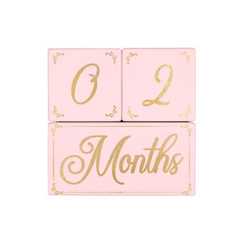 Pink and Gold Milestone Blocks - Stacking Tabletop Decor Set of 3