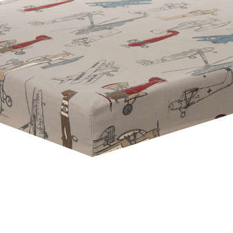 Fly By Collection Mini Fitted Crib Sheet - Airplane Print by Glenna Jean