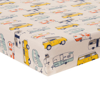 Happy Camper Collection Mini Fitted Crib Sheet - Print by Glenna Jean