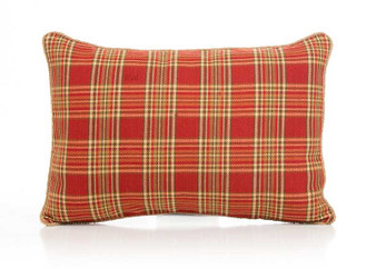 Carson Collection Small Pillow Sham (Red Plaid with Cording)
