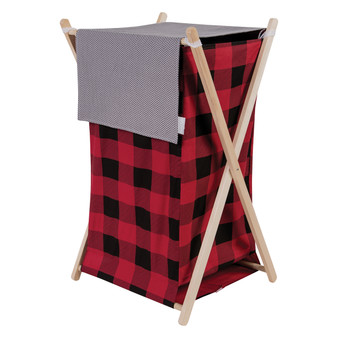 Trend Lab Red and Black Buffalo Check Hamper Set