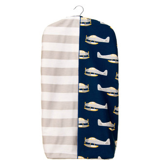 First Flight Collection Diaper Stacker (Grey Stripe and Airplane Print)