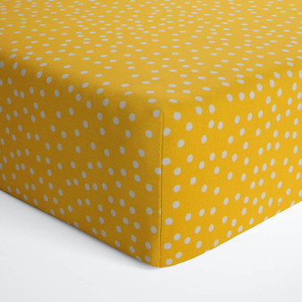 First Flight Collection Mini Fitted Crib Sheet - Yellow/White Dot Print