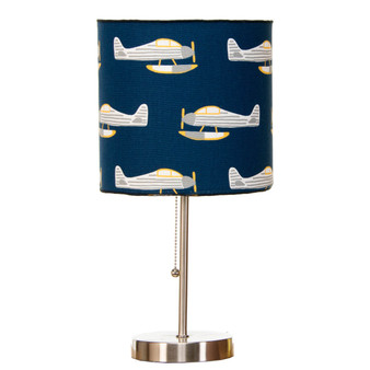 First Flight Mod Table Lamp with Airplane Print Shade (18x8.5x8.5) (60W)