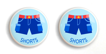 Dresserz Boy's Shorts Drawer Knobs - Set of 2 (Ceramic)