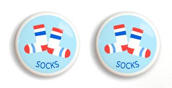 Dresserz Boy's Socks Drawer Knobs - Set of 2 (Ceramic)
