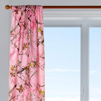 "Camo Baby Pink Lined Drapery Panel (Approximately 90x40"") 1 Panel"