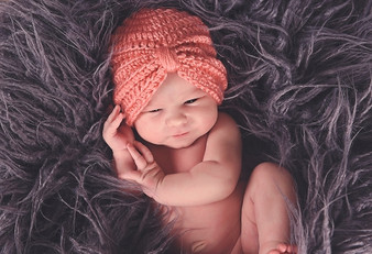 Candy Pink Tiny Turban Winter Hat for Baby