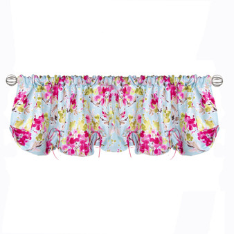 """Cherry Blossom Collection Window Valance (Floral with Bows) 54""""x23"""""""