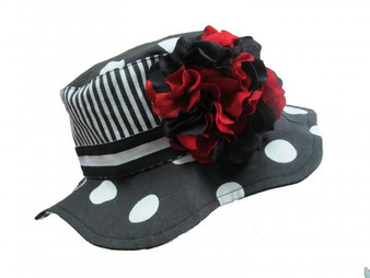 Black White Dot Sun Hat with Black Red Large Geraniums