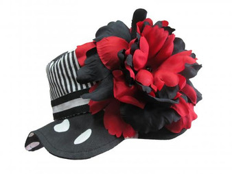 Black White Dot Sun Hat with Black Red Large Peony