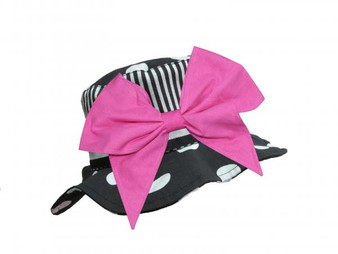 Black White Dot Sun Hat with Candy Pink Bow-Rae-Mi