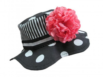 Black White Dot Sun Hat with Candy Pink Large Geraniums