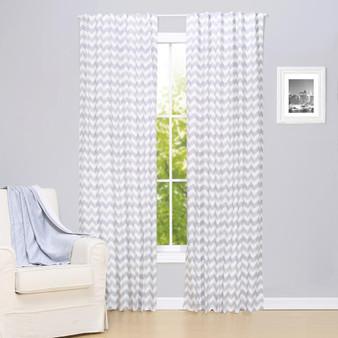 Grey Chevron Blackout Window Curtain Panel Pair