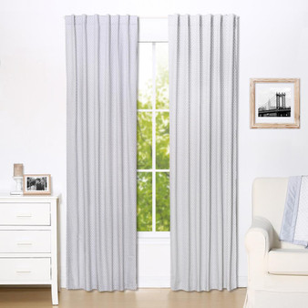 Grey Dot Blackout Window Curtain Panel Pair