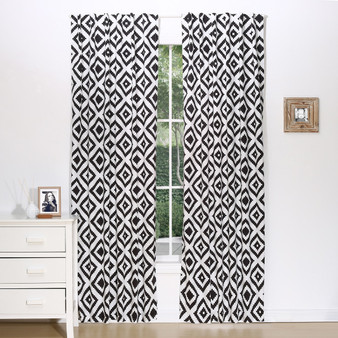 Black Tile Blackout Window Curtain Panel Pair