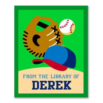 Baseball Personalized Kid's Bookplates - Set of 12