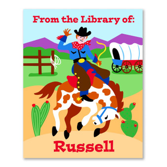Cowboy Personalized Kid's Bookplates - Set of 12