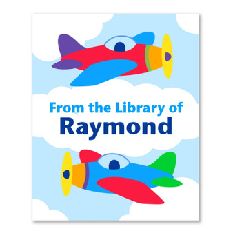 Airplanes Personalized Kid's Bookplates - Set of 12