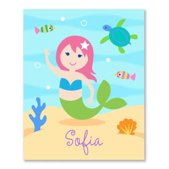 Mermaids (Light Skin) Personalized Kid's Bookplates - Set of 12