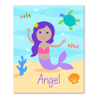 Mermaids (Dark Skin) Personalized Kid's Bookplates - Set of 12
