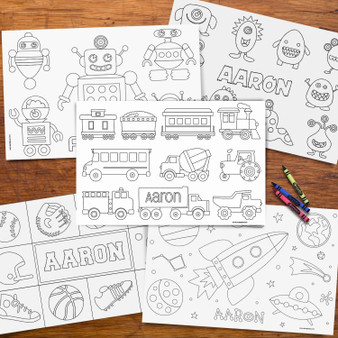 Boys Personalized Coloring Placemat Pages - Set of 10