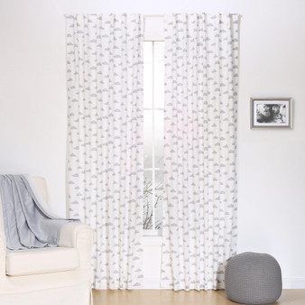 Grey Clouds Blackout Window Curtain Panel Pair