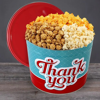 Thank You Popcorn Tin Gift - Choose Flavor and Tub Size