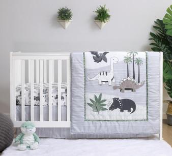 Dino 3-Piece Bumperless Crib Bedding Set in Green and Grey
