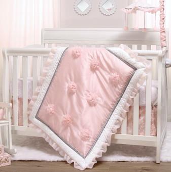 Arianna 3-Piece Bumperless Crib Bedding Set in Pink, Grey and White