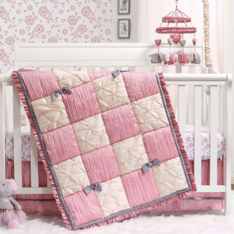 Bella 3-Piece Bumperless Crib Bedding Set in Pink and Cream