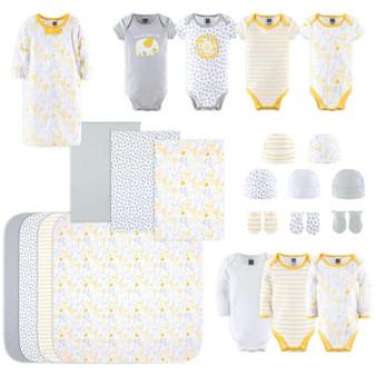 23-Piece Neutral Newborn Baby Cotton Layette Gift Set- Yellow & White