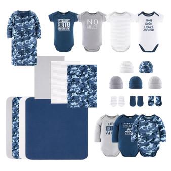 23-Piece Newborn Baby Boy's Cotton Layette Gift Set - Navy and Grey