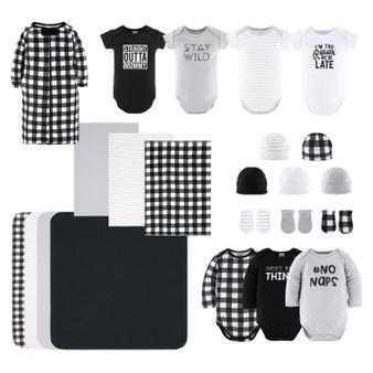 23-Piece Neutral Newborn Baby Cotton Layette Gift Set- Black & White